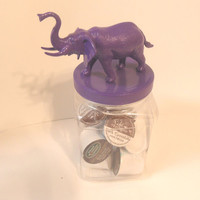 Purple Elephant Plastic Cookie Jar - Large Storage Jar - Kitchen, Kids Room, Dorm