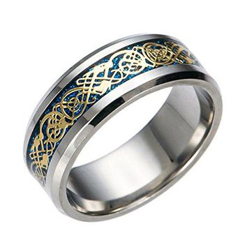 Tanyoyo 8mm Celtic Dragon stainless steel Ring Wedding Band Jewelry Silver Blue Size 614