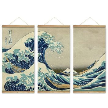 The Great Wave Japanese Ukiyoe Wall Art Pictures 3 pcs set