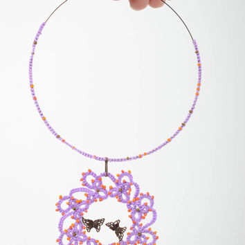 Textile  handmade tatting necklace bright lilac crocheted pendant exclusive gift