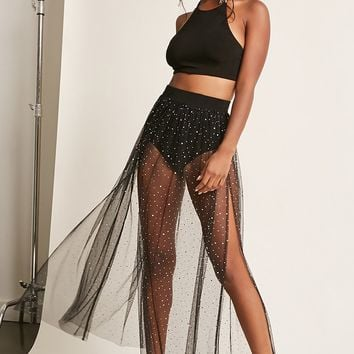 Sequin Sheer Mesh Maxi Skirt