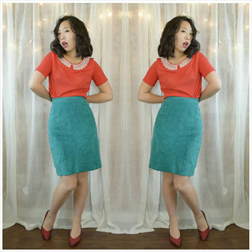 Vintage 80s Teal Suede Leather Skirt