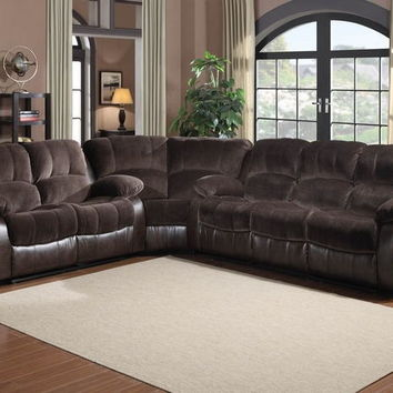 Home Elegance 9700FCP-3PC 3 pc cranley collection 2 tone chocolate textured microfiber and brown faux leather upholstered sectional sofa set