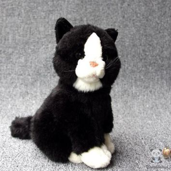 Black Cat Stuffed Animal Plush Toy 8""