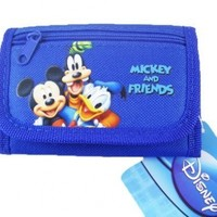 Disney Mickey & Friends Children's Tri-fold Wallet - Mickey Donald Goofy Wallet - Blue