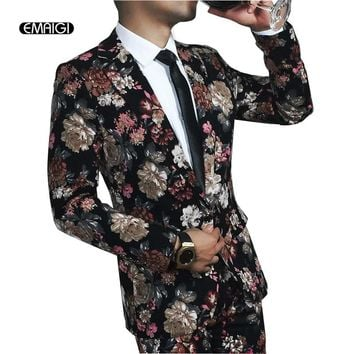 Costume Homme New Men Casual Flower Suits Peaked Lapel Male Dress Suits Fashion Men Suit Sets(Jacket+Pants) Stage Clothing