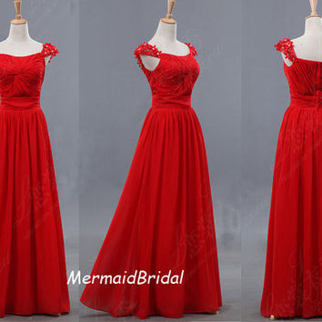2013 Simple Chiffon Red Prom Dresses Aline by MermaidBridal
