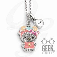 Sterling Silver Hello Kitty Crystal/Gold-Tone/Enamel Aries Necklace