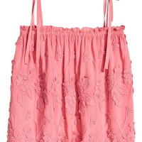 Embroidered top - Pink/Floral - Ladies | H&M GB