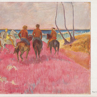 "Written on (!) Vintage German Postcard -- Paul Gauguin ""Riders on the Beach"" -- 1960s. Condition 9/10"