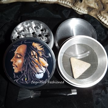Bob Marley Lion Rasta 4 Piece Herb Grinder Pollen Screen and Catcher