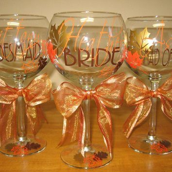 Fall in Love Personalized Wedding Party Wine Glass by VinyleYours