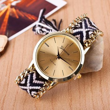 Montre Femme 2016 dames horloges Fashion Bracelet watch Women Handmade Braided sunflower Dial Geneva Quartz Watch Clock female