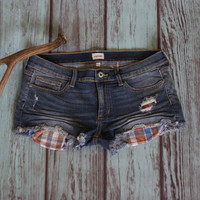 Plaid Pocket Denim Cuttoff Shorts
