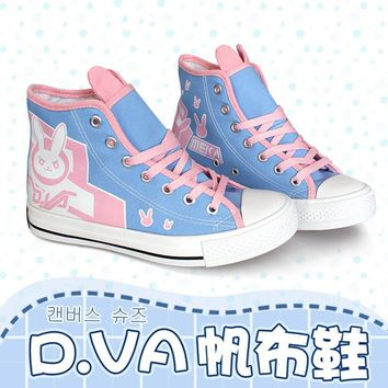 Game OW d.va over and watch D.VA/ Tracer/Mercy Cosplay Boots Flat Heel Custom Shoes Size 36-39 in stock