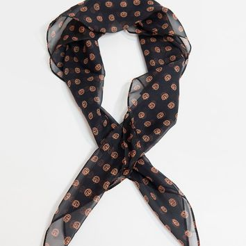 Unique Vintage Pin-Up Black & Orange Pumpkin Print Chiffon Hair Scarf