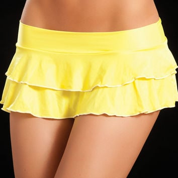 Double Layered Neon Yellow Ruffle Skirt
