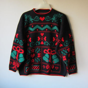 80s Ugly Christmas Sweater! Red, Green, & Black Print Kitschy, Tacky Festive Holiday Sweater! Hipster Party Sweater!