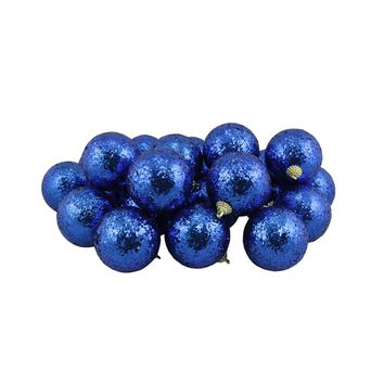 """24ct Blue Shatterproof Sequin Finish Christmas Ball Ornaments 2.5"""" (60mm)"""