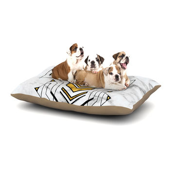 "KESS Original ""Geo Marble Graphic"" Gold Tribal Dog Bed"