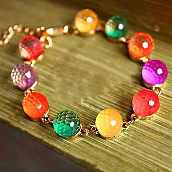 Candy Beads Golden Tone Crystal Chain Bangle