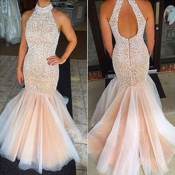 Sexy Real Halter Crystal Mermaid Prom Dresses Long 2017 Elegant Open Back Long Evening Party Gowns vestido longo