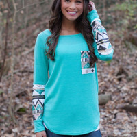 Tribal Print Long-Sleeve Shirt With Pocket