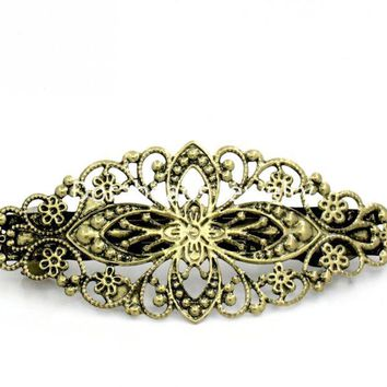 Doreen Box hot-  5 Bronze Tone Flower French Hair Barrette Clips 80x35mm (B13209)