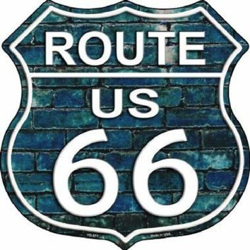 Blue Brick Route 66 Highway Shield Sign  11 inch  die cut  sign