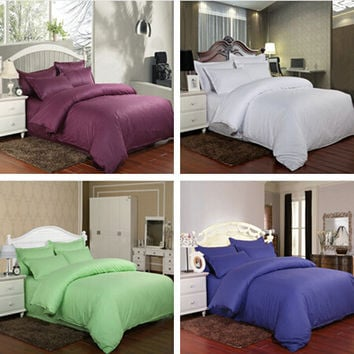 4pcs Hotel and family 100% cotton bedding set solid duvet cover bed linen sheet quilt sets bedding-set pillowcase no comforter