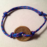 Handcrafted Unisex Sliding Knot and Chinese Coin Bracelet