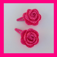 2 crochet flower hair clips
