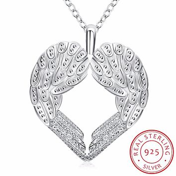INALIS Genuine 925 Sterling Silver Heart Necklace Fine Jewelry Angel Wings with A Heart Pendant Necklace Holiday Sale