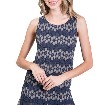 Lace Lined Sleeveless Mini Tunic Dress with Mesh Bottom