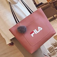FILA Trending Women New Casual Shopping Letter Print Pu Leather Shoulder Bag Handbag Pink