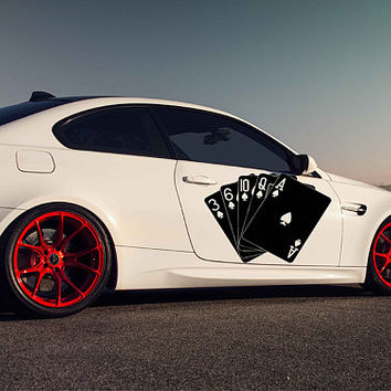 playing cards car hood decal playing cards Car Decals cards Car Truck playing cards Side Body Graphics Decal Sticker for car ikcar101