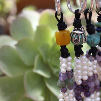 colorful Keychains, natural gemstones key chains,purple Amethyst white pearls orange amber accessories, perfect gift idea, gift for her,SOM