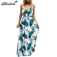 Floral Boho Spaghetti strap v neck backless palm leaves printed maxi dress