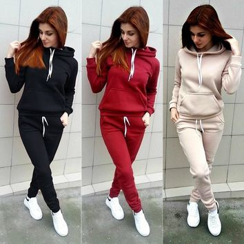 Streetstyle  Casual Fashion Autumn Women Tracksuits Long Sleeve Hooded Sweatshirts+ Long Pants Two Piece Set Sportsuit