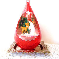 Vintage Christmas Angel Ornament. Teardrop. Raindrop. Bambi reindeer. bottlebrush tree. Woodland Scene. Red Acrylic.