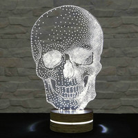 Skull Shape, 3D LED Lamp, Home Decor, Table Lamp, Office Decor, Plexiglass Lamp, Decorative Lamp, Nursery Light, Acrylic Night Light