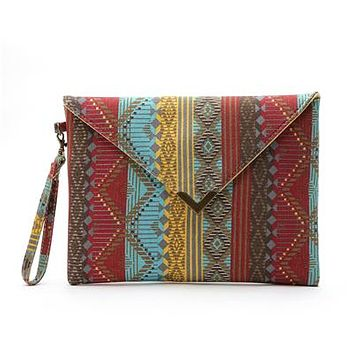 Tribal style canvas clutch