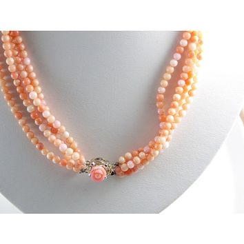 Angel Skin Coral Natural 4 Strand Necklace with Carved Coral Flower Clasp