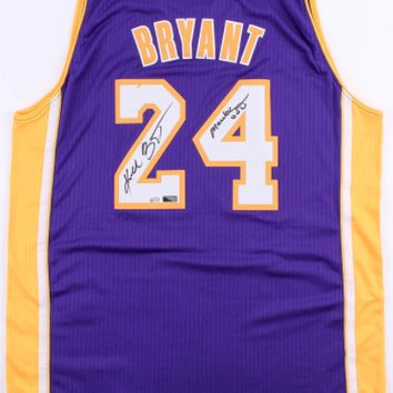 "KOBE BRYANT SIGNED LAKERS PURPLE JERSEY INSCRIBED ""MAMBA OUT"" #D/124 COA AUTOGRAPH"