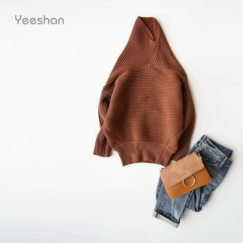 Yeeshan Cashmere Turtleneck Sweater Women Batwing Sleeve Women Sweaters and Pullovers Ribbed Knitting Women's Sweater Brand