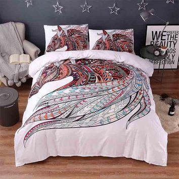 Cool 3d Animal White Bedding Sets Horse Print 3pcs Luxury Bed Cover Duvet Cover Comforter Queen King Twin Size Designer Bed SheetsAT_93_12