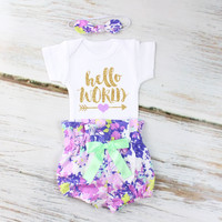 Hello World Baby Take Home Outfit | Purple Flowers High Waisted Bloomers outfit with Sparkly Gold Hello World and Purple Heart Arrow