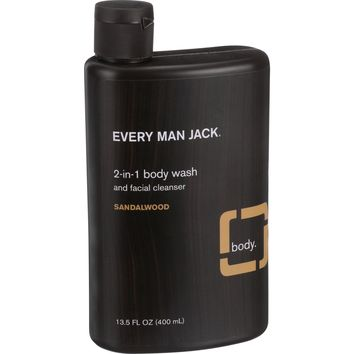 Every Man Jack 13.5 oz Sandalwood 2 in 1 Body Wash and Facial Cleanser