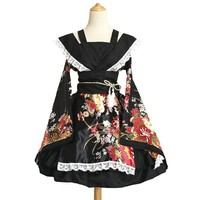 2017 S-XXXL Plus Size Anime Cosplay Gallus Japanese Kimono Costume Lace Sweet Lolita Flower Print Dress Long Sleeve Sexy Hallowe