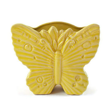McCoy Butterfly Planter, Vintage 1940's Yellow Butterfly Wall Vase, Rare McCoy Pottery